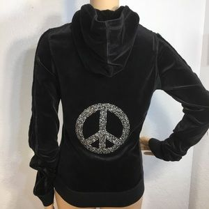 Twisted Heart Hoodie w/Bling Peace Sign